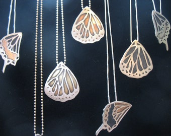 Personalized Monarch Butterfly Wing Necklace