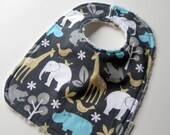 Gray and Blue Zoo Animals Chenille BIB