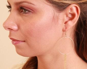 Gold filled hoop earrings with chain fringe. Delicate hoop. Everyday. Simple. Gift. Gold earring. Dangle earring. Drop earring. Tassle