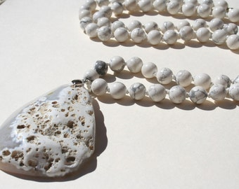 Botswana Agate Stone Knotted Long Necklace w/ Botswana Agate Pendant - One of a Kind -