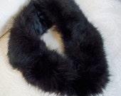 Vintage Fur  Collar Black Coat