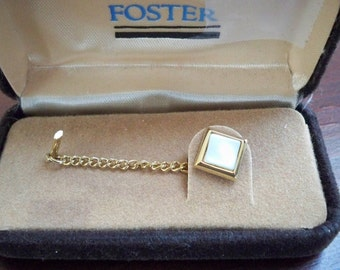 Vintage Jewelry Men's Jewelry Foster Mother of Pearl Tie Tack Formal Tie Tack in Original Box