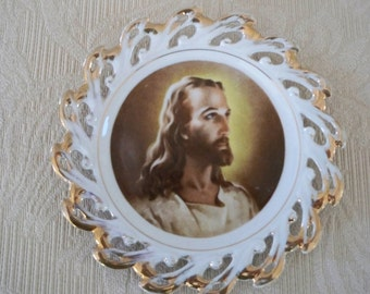 Vintage Collectible Plate Religious Plate Wall Hanging Christ