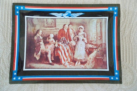 Vintage Collectible Bent  Glass Flag Betsy Ross Dish Convex Glass July 4th.