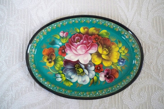 Vintage Hand Painted Floral Oval Metal Tray
