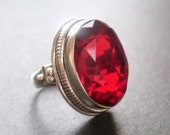 Cherry Pie -- Garnet Quartz Sterling Silver Ring Size 5 1/4