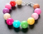 The Arm Candy -- Rainbow Handknotted Pastel Jade Stone Bracelet