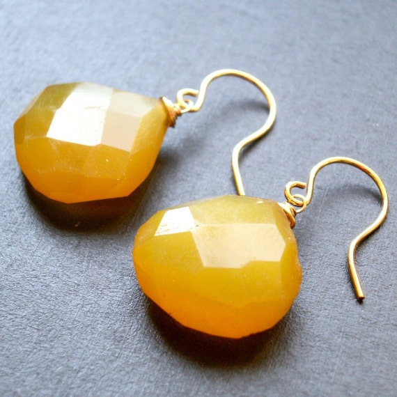 The Novia -- Yellow Chalcedony Teardrop Earrings