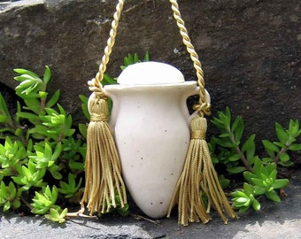 "3"" Hanging White Keepsake Cremation Urn / handmade stoneware pottery"