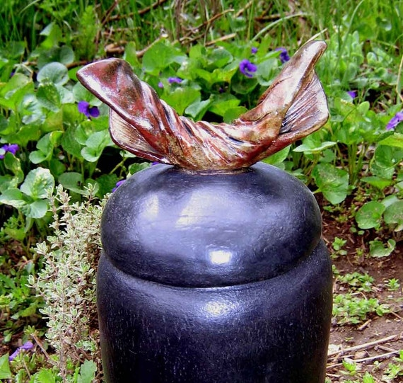 Half Sized Black and Copper Triumphal Urn / handmade pottery
