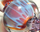 Handmade Glass Lampwork Bead-Glass Beads-Boro Beads-Round-Borosilicate-Round-Encased-By Brenda Scata-7 beads-PERSIAN LILAC