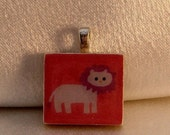 SCRABBLE TILE PENDANT WITH FREE BLACK LEATHER CORD-MIGHTY LION