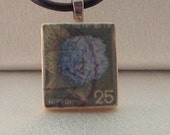 SCRABBLE TILE PENDANT WITH BLACK LEATHER CORD-VINTAGE JAPANESE STAMP-HYDRANGEA