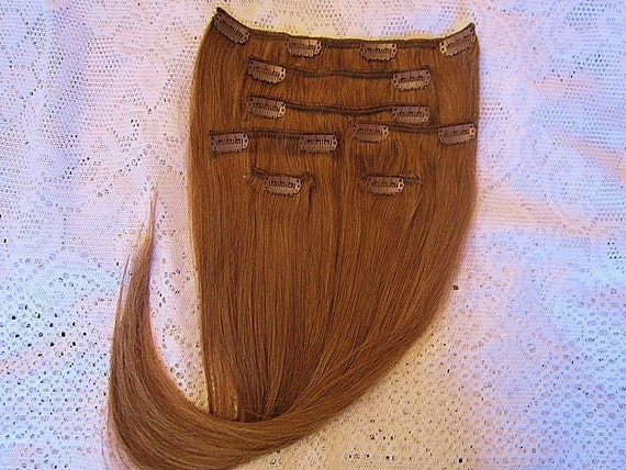 Full Head HUMAN HAIR Clip In Extension Set of 7 Pieces,  20 Inches long. Lightest Golden Brown