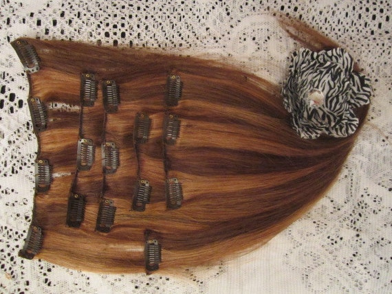 Full Head HUMAN HAIR Clip In Extension Set of 7 Pieces,  15 Inches long,  Medium Brown with Golden Blonde Chunky Highlights