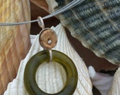 RecycledMerlot Wine Bottle Glass Pendant with Wine Cork- Eco Jewels by Jennifer McLamb