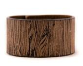 SALE Leather Cuff Wood Grain Faux Bois Jewelry