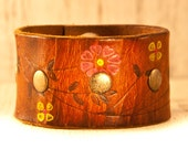 Flower Wristband Leather Cuff Christmas Gift