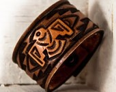 Hand Tooled Leather Wristband Cuff