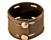 Black Leather Cuff Bracelet   Gifts Presents