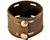SALE Black Leather Cuffs Bracelets Wristbands Women's Small