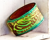 Christmas Gift Guide Tooled Leather Jewelry Accessories Cuff Bracelet Handmade Holiday Sale