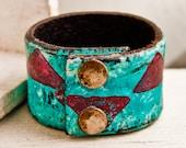 Turquoise Jewelry Native Tribal Geometric Leather Cuff OOAK