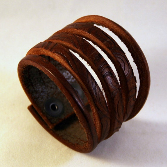 Old World Leather Cuff Rustic Primitve Holiday