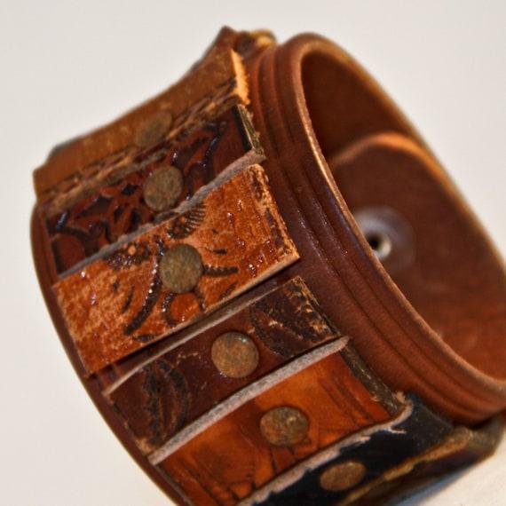 RARE OOAK Leather Cuff Adjustable Size Unisex