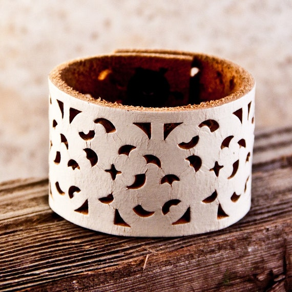 White Leather Cuff Women's Upcycled Jewelry