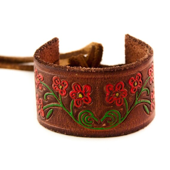 Leather Cuff Laced Lacing Lace OOAK
