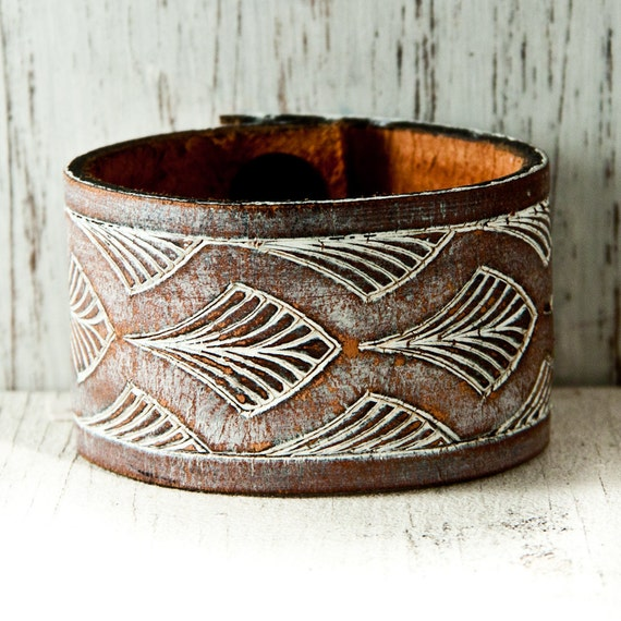 White Leather Wristband Boho Gypsy Accessory