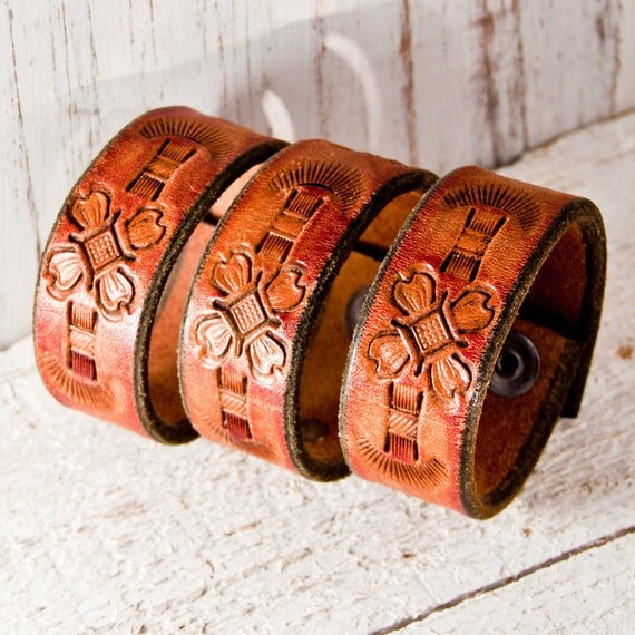SALE Wristbands Leather Cuffs Bracelets Hand Tooled Vintage Retro