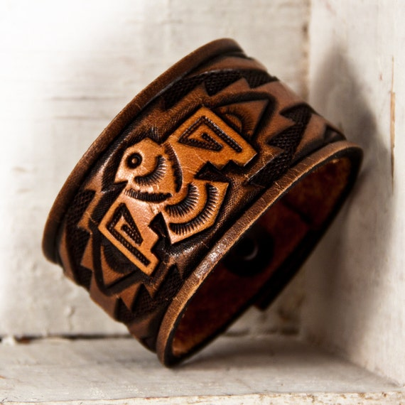 Hand Tooled Leather Wristband Cuff