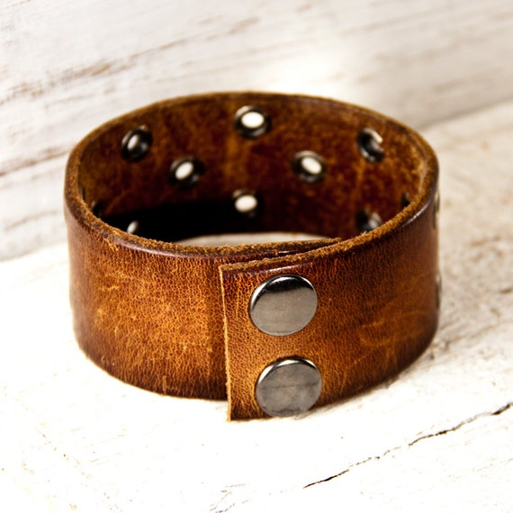 Gifts For Him Men's Jewelry Guy's Accessories Leather Cuffs Bracelets Wristbands Size Medium Christmas December Sale