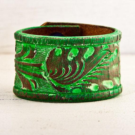 Vintage Leather Cuff Bracelet Wristband Handmade Jewelry