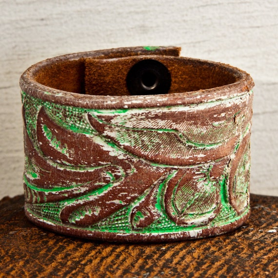 Tooled Leather Bracelets Cuffs Wristband Winter  Fashion OOAK