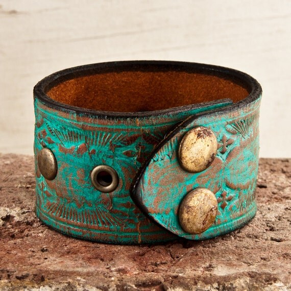 Spring Fashion Leather Cuff Gift for Mom OOAK