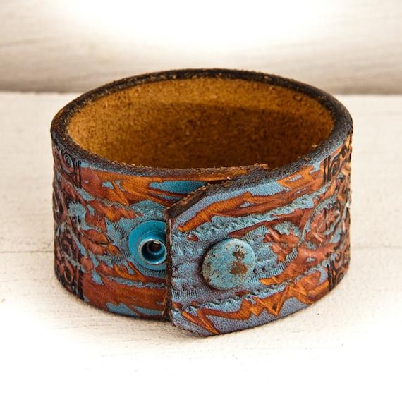 SALE Leather Cuffs Vintage Distressed Bracelet OOAK