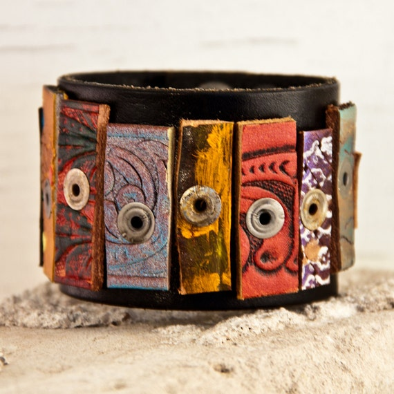 OOAK Leather Cuff Vintage Wristband Original Limited