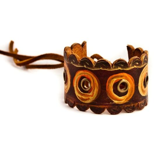 Boho Gypsy Chic Leather Cuff Upcycled Jewelry