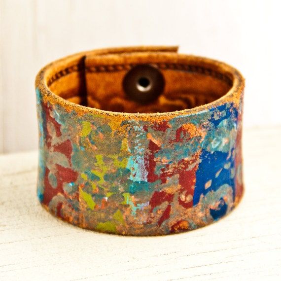 Women's Small Cuff Bracelet Painted Leather Jewelry