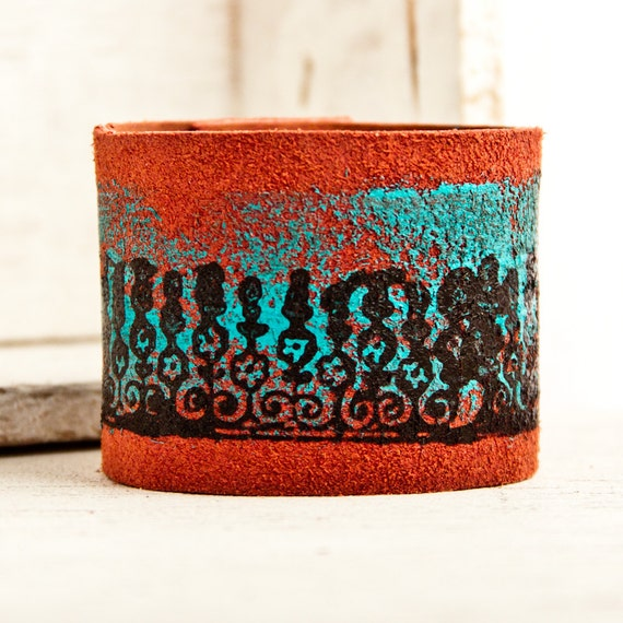 Wide Leather Cuff Bracelet Turquoise Jewelry OOAK, Valentines, Valentine Gift, Unique, Accessories