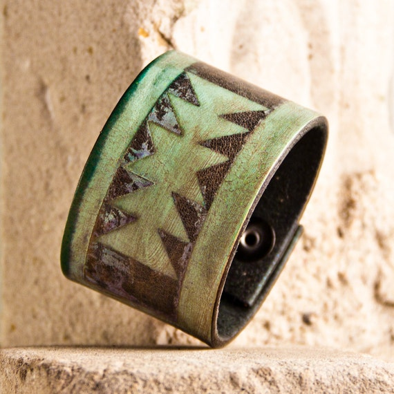 Leather Jewelry Cuff Bracelets Tribal, Native, Geometric, OOAK