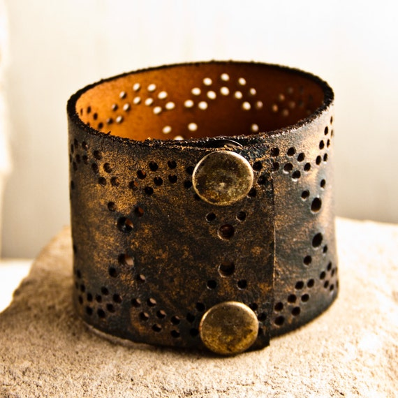 Unique Gifts Leather Snap Cuff Painted Bracelet Unique Jewelry Christmas Holiday December Winter Sale