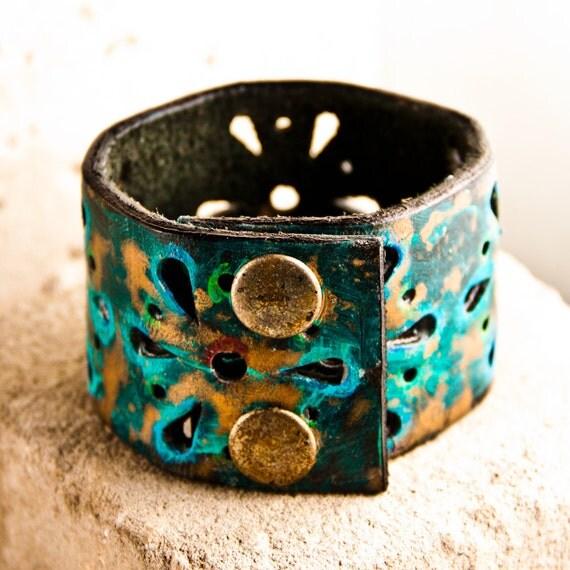 Unique Jewelry Leather Wrist Art Cuff OOAK