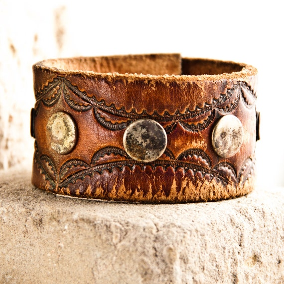Brown Vintage Tooled Leather Bracelet Carved Stamped Embossed