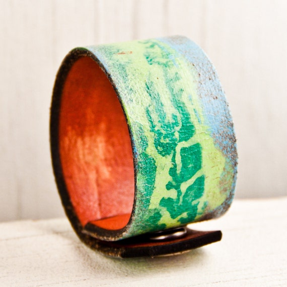 Christmas Gift Guide Leather Cuff Bracelet Wristband  Handmade Holiday Sale