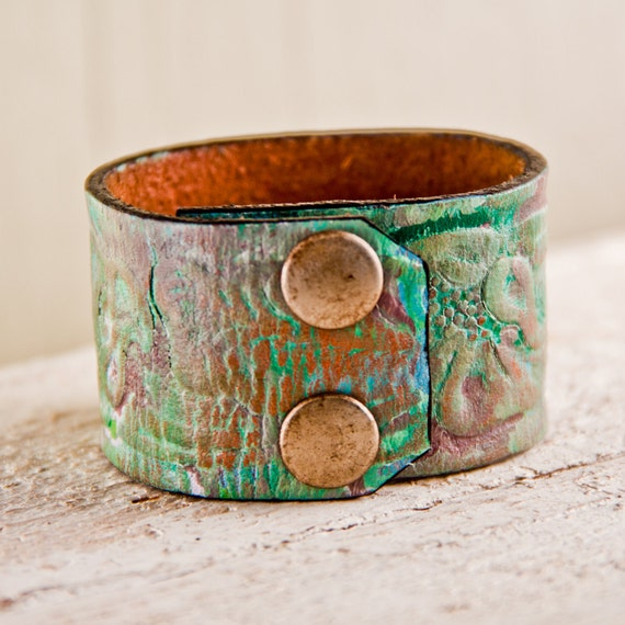 Christmas Gift Guide Hand Painted Cuff Upcycled Jewelry OOAK Tooled Leather Size Small Handmade Holiday Sale