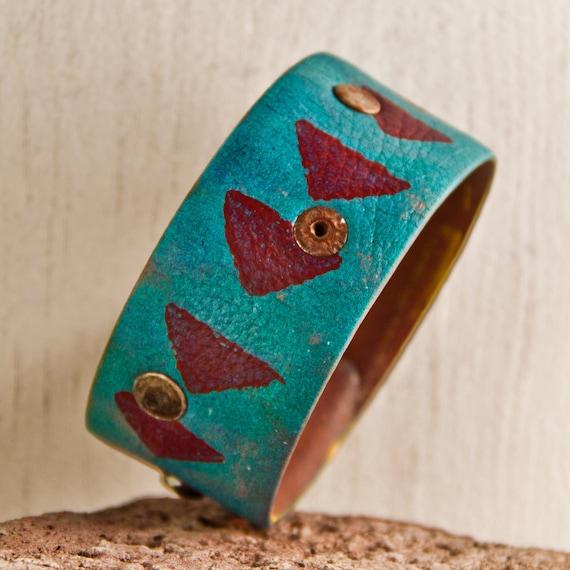 Geometric Tribal Native Pattern Bracelet Jewelry Cuff OOAK